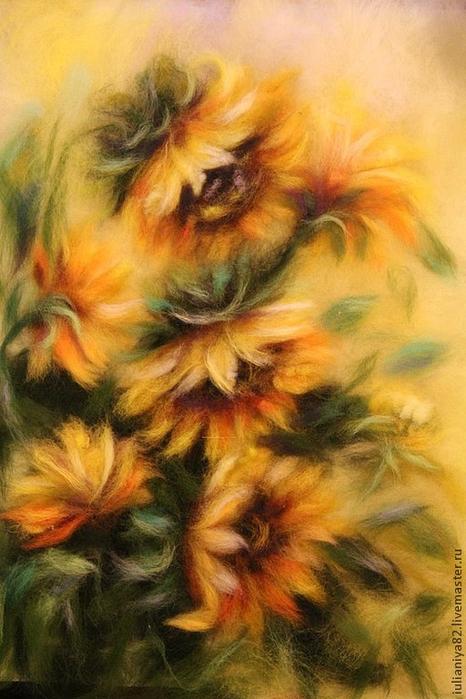 живопись шерстью картины цветы (8) (466x700, 362Kb)