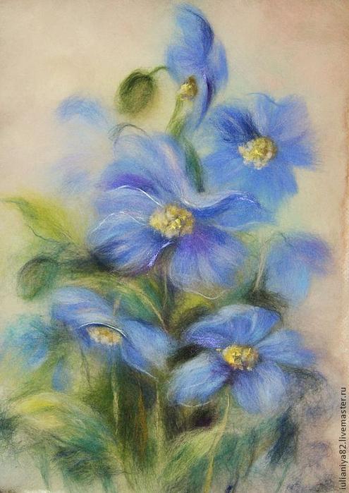 живопись шерстью картины цветы (10) (495x700, 354Kb)