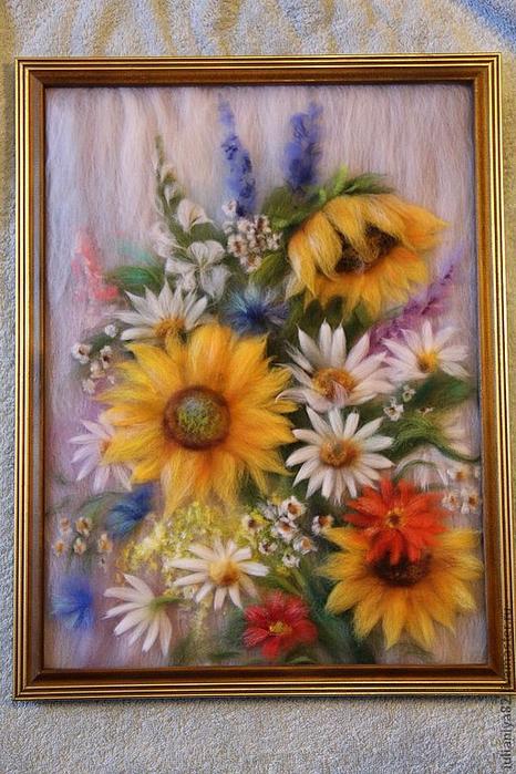 живопись шерстью картины цветы (12) (466x700, 419Kb)