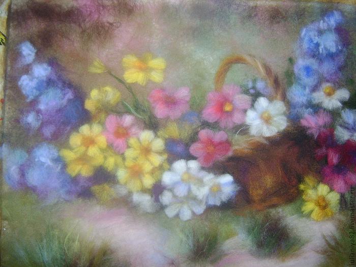 живопись шерстью картины цветы (14) (700x525, 434Kb)