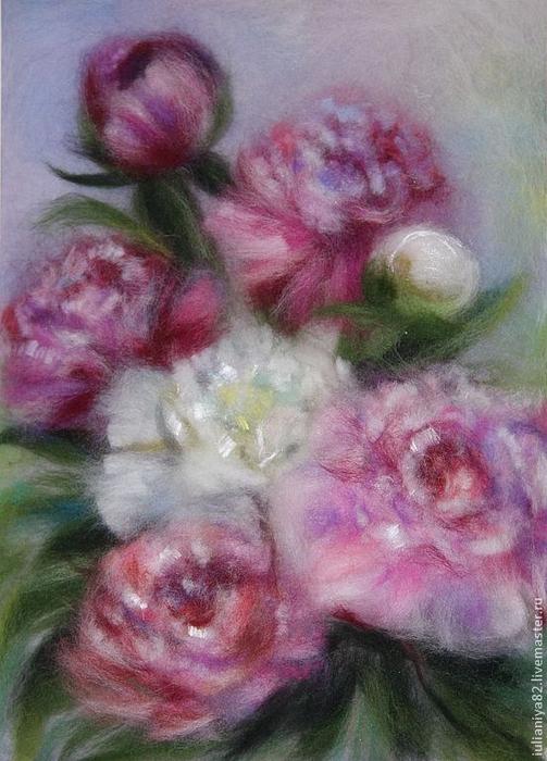 живопись шерстью картины цветы (16) (503x700, 358Kb)