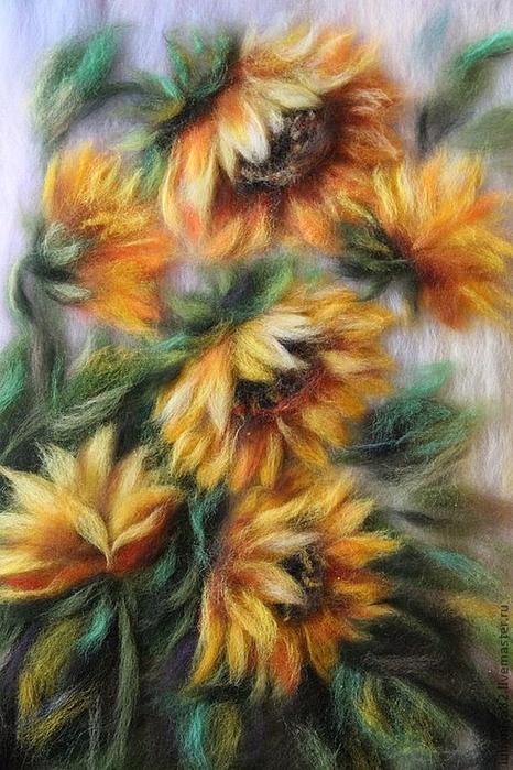 живопись шерстью картины цветы (18) (466x700, 398Kb)