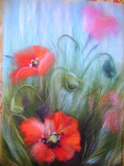 живопись шерстью картины цветы (20) (525x700, 462Kb)