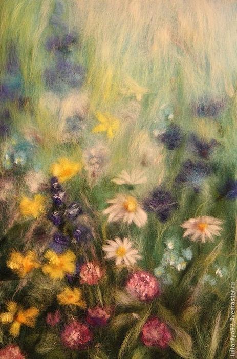 живопись шерстью картины цветы (22) (463x700, 383Kb)