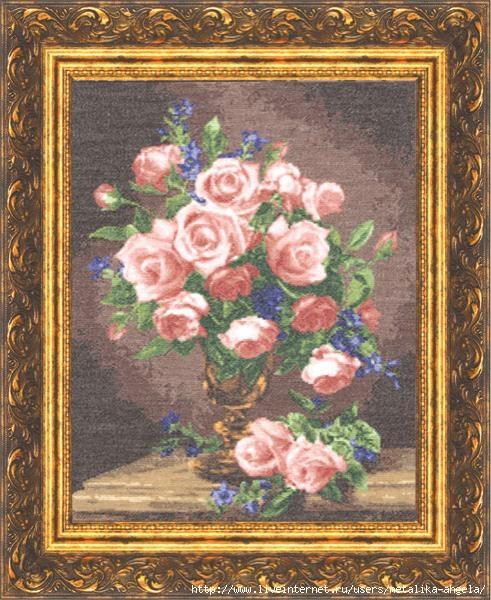 ГН-007 Розы и фиалки (491x600, 231Kb)