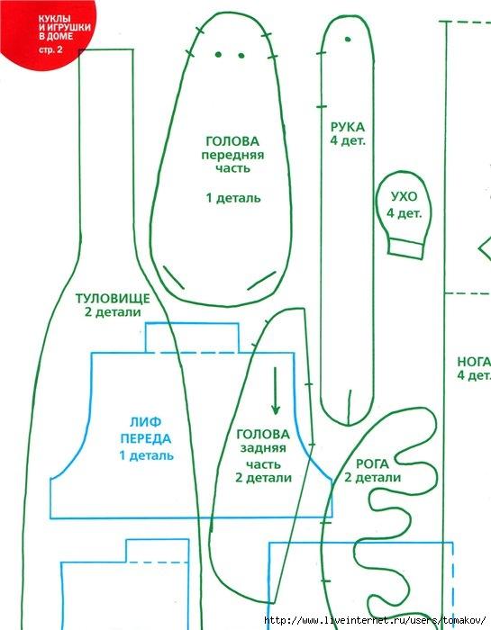 Выкройки текстильных кукол тильда 155