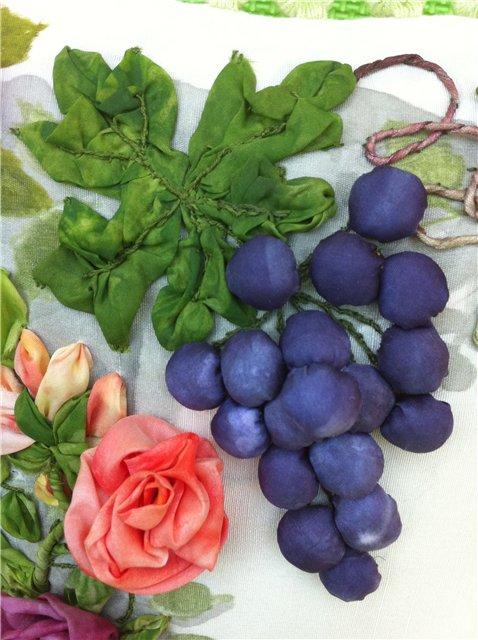 Виноград вышивка лентами 37