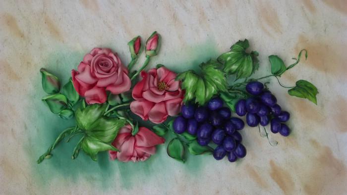 Виноград вышивка лентами 31