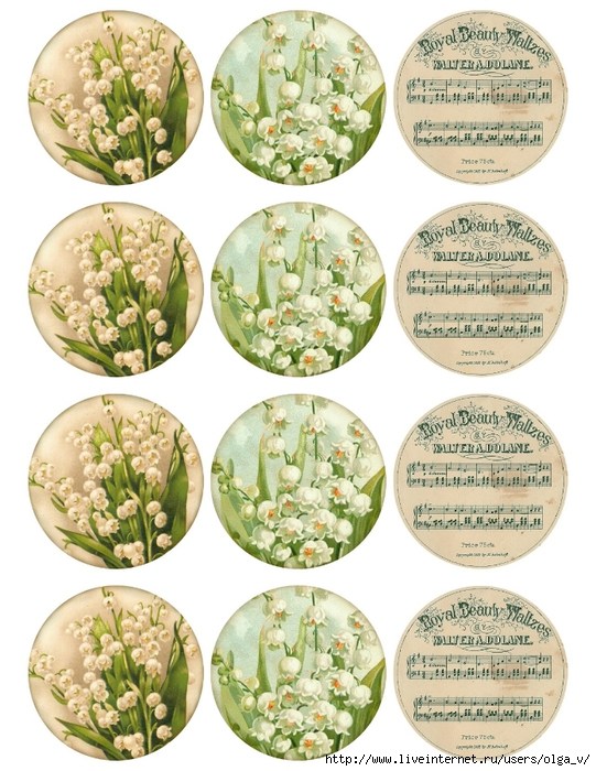 Lily-of-the Valley ~ 2.5 in round printable ~ lilac-n-lavender (541x700, 322Kb)