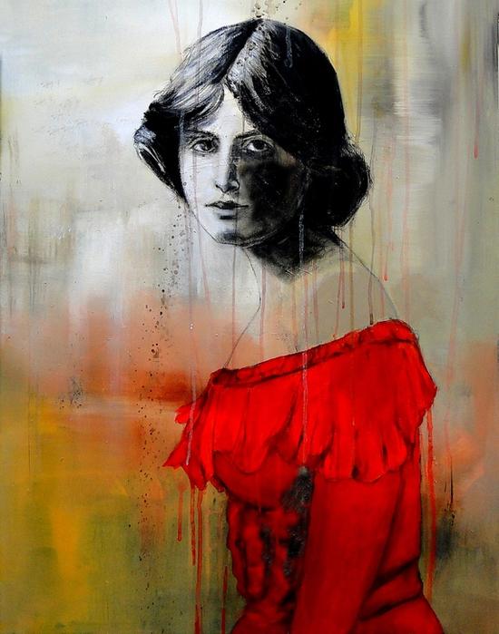Женщина в красном платье (550x700, 427Kb)