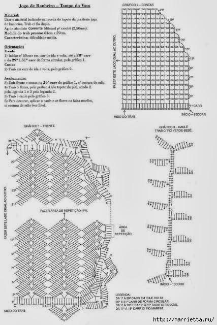 Комплекты для ванной комнаты крючком. Схемы (11) (427x640, 200Kb)