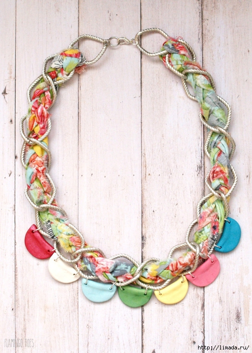 Braided-Chain-and-Clay-Scallops-Necklace-643x900 (500x700, 294Kb)