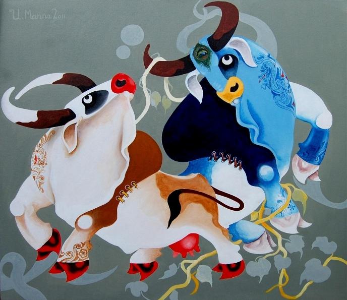Корова и бык (688x595, 288Kb)