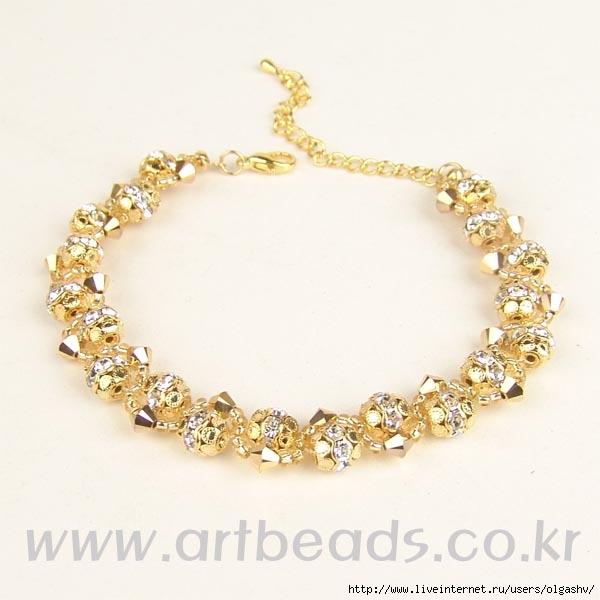 браслет из бисера и бусин, золото, бусины для шамбалы, схема.  70300991.