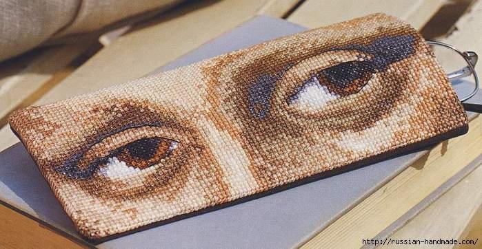 Вышивка по мотивам Леонардо да Винчи. Футляр для очков (1) (699x362, 186Kb)