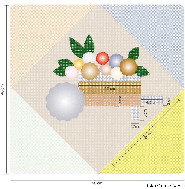 Цветочки ЙО-ЙО для покрывала и подушки (3) (616x629, 297Kb)