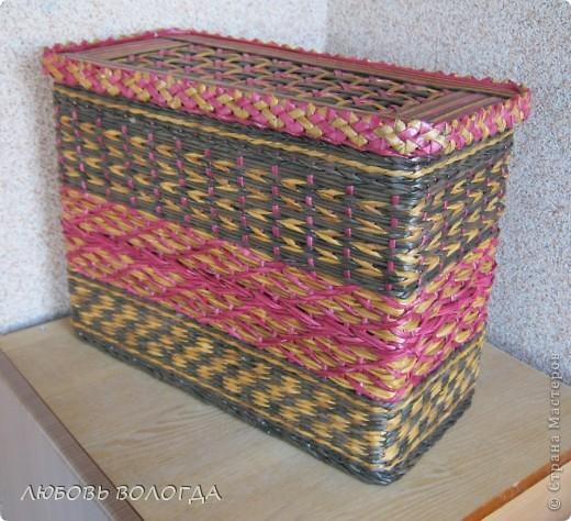Плетение из газет. Мастер-класс на крышку с цветным узором из трубочек (37) (520x474, 286Kb)