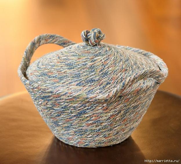 Корзинки, вазочки и коврик из лоскутков и бельевой веревки (6) (624x568, 224Kb)