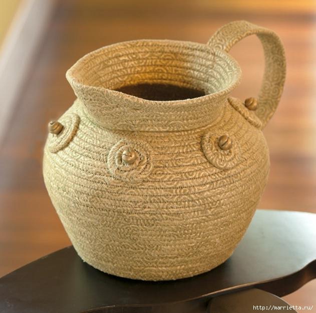Корзинки, вазочки и коврик из лоскутков и бельевой веревки (22) (631x626, 207Kb)