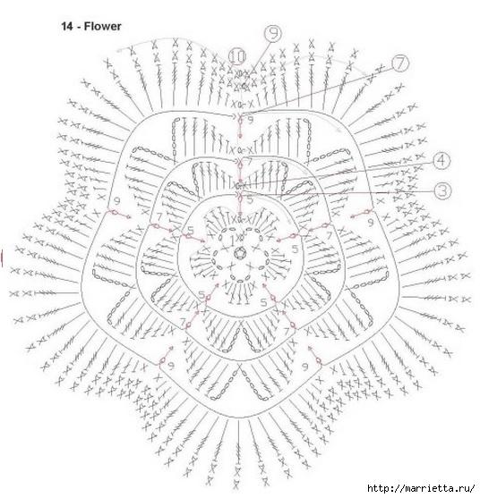 Вяжем ЦВЕТЫ КРЮЧКОМ. Схемы (15) (536x557, 171Kb)