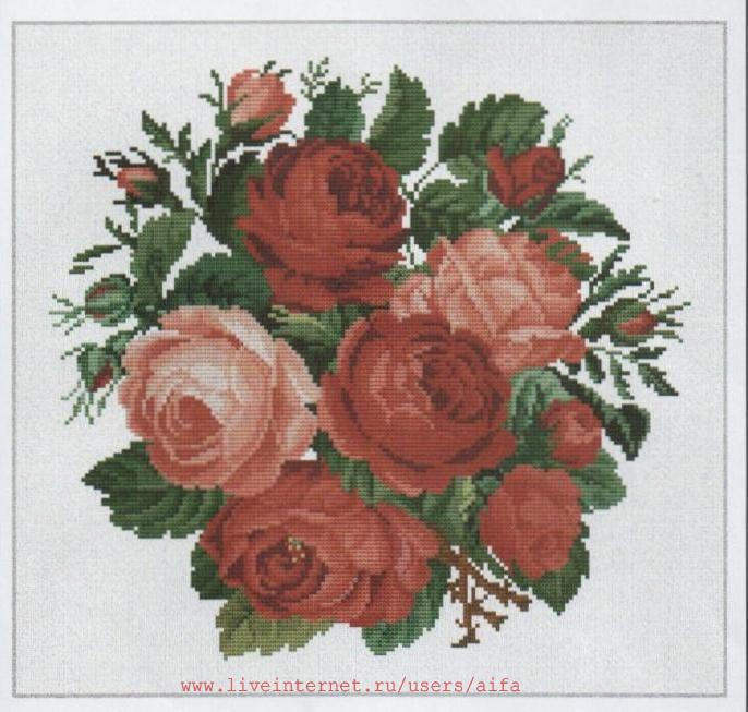 Вышивка крестом букеты красных роз