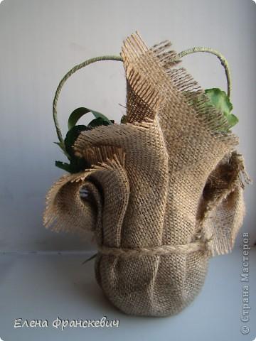 Поделки из мешковины от Елены Франскевич. Конфетный цветочек (1) (360x480, 132Kb)