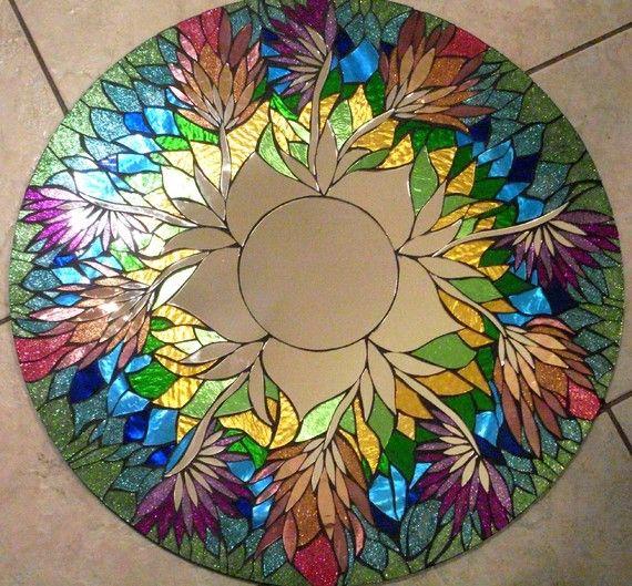 Витражная роспись цветами