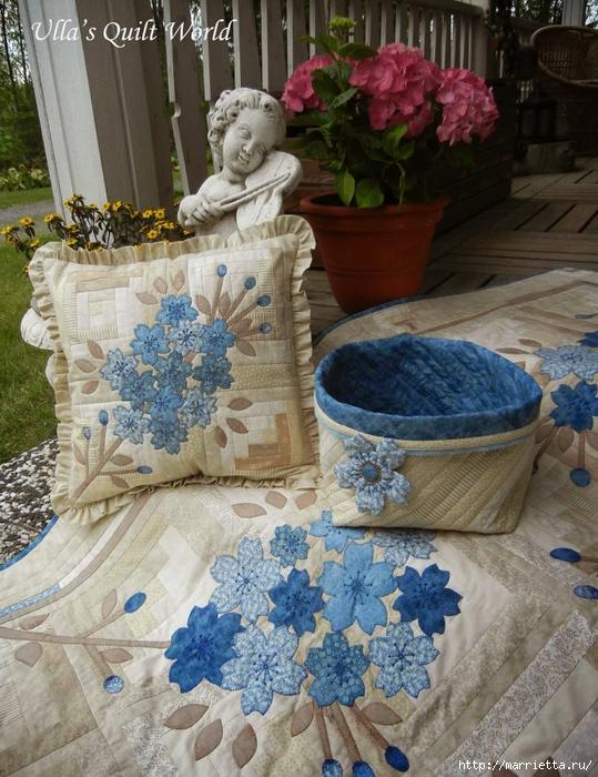 Японский квилт. Очень красивая подушка и лоскутное одеяло (2) (539x700, 346Kb)