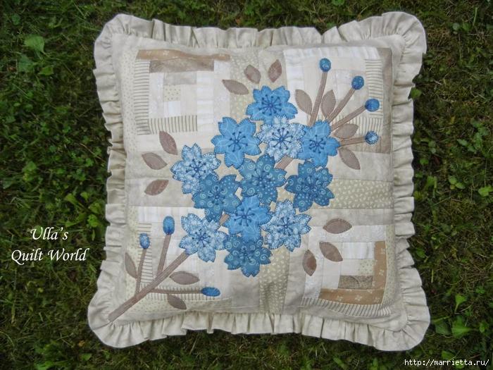 Японский квилт. Очень красивая подушка и лоскутное одеяло (4) (700x525, 338Kb)
