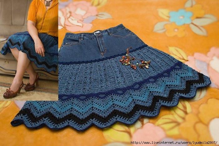 Обвязка крючком джинсовой юбки