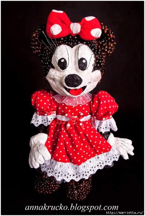 Minnie Mouse hecha de papel maché y granos de café.  Master class (4) (468x700, 215KB)