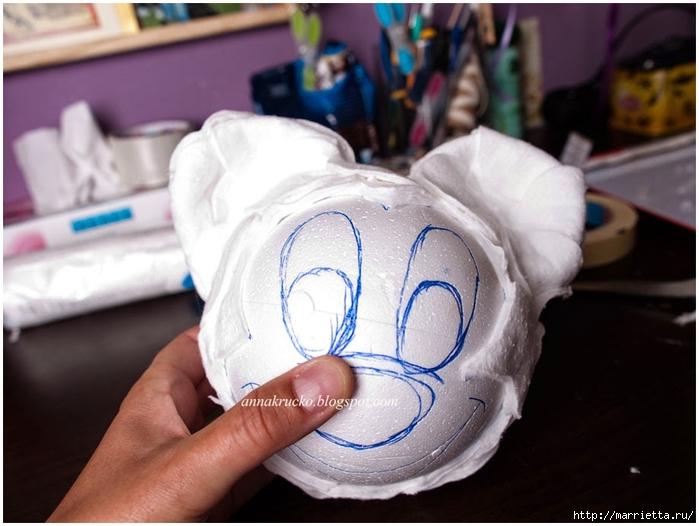 Minnie Mouse hecha de papel maché y granos de café.  Clase magistral (12) (700x526, 220KB)