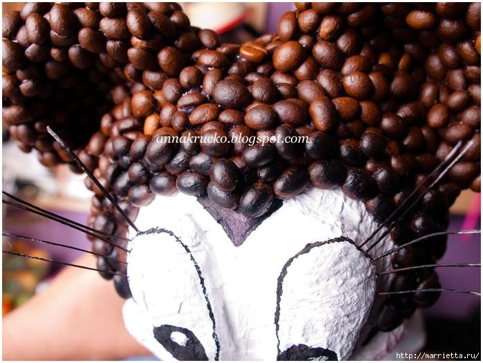 Minnie Mouse hecha de papel maché y granos de café.  Clase magistral (24) (700x526, 290KB)