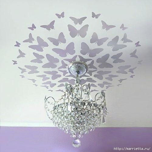 Порхающие бабочки в интерьере. Трафареты для стен и потолка (5) (500x500, 110Kb)