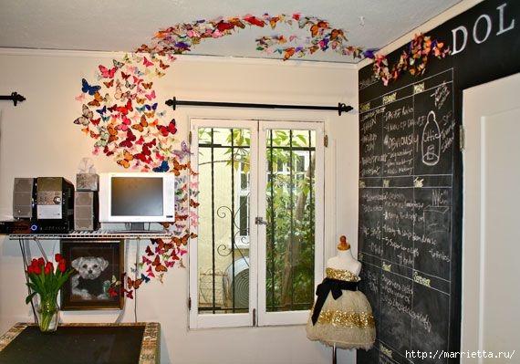 Порхающие бабочки в интерьере. Трафареты для стен и потолка (7) (570x399, 154Kb)