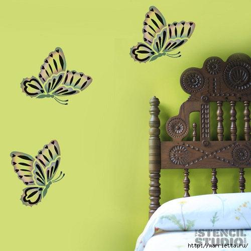 Порхающие бабочки в интерьере. Трафареты для стен и потолка (20) (500x500, 114Kb)