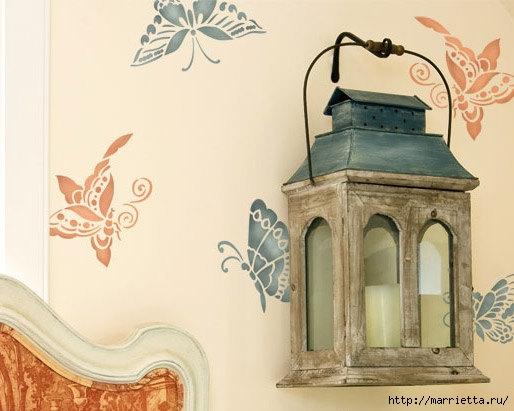 Порхающие бабочки в интерьере. Трафареты для стен и потолка (26) (514x411, 114Kb)