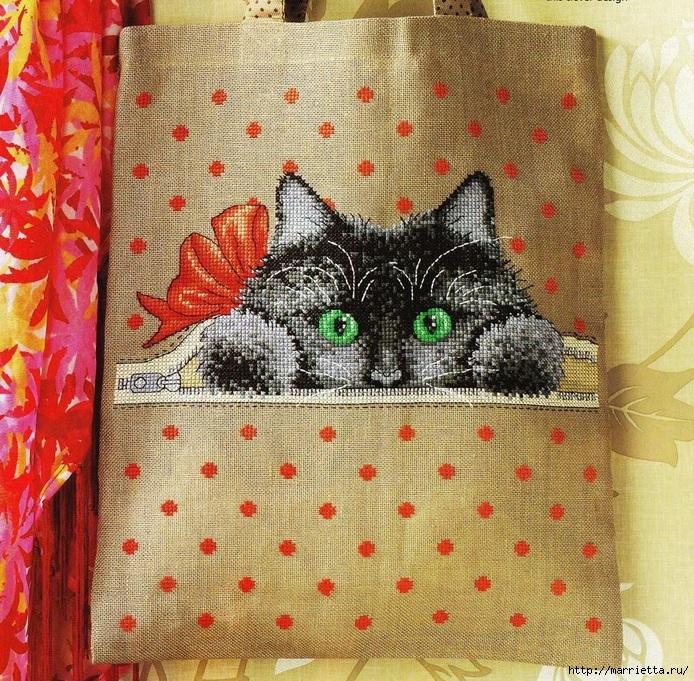 Хозяйственная сумка с котенком. Схема вышивки (694x681, 497Kb)