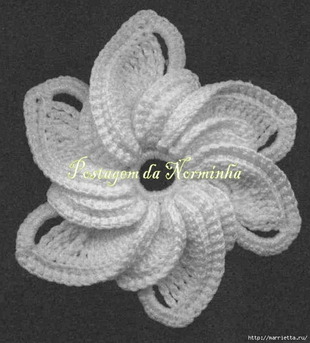 Цветок крючком для украшения сарафана (2) (631x700, 236Kb)