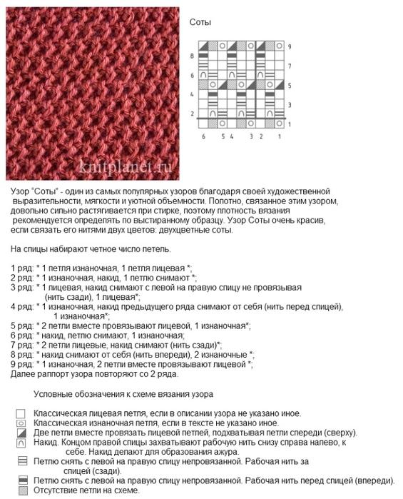 Вязание. схемы вязания соты 82