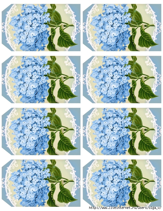 Hydrangea in blue ~ 4.1 x 2.5 tags printable ~ lilac-n-lavender (541x700, 396Kb)