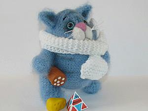 вязаный кот обжорик, как связать кота, схема вязания кота,