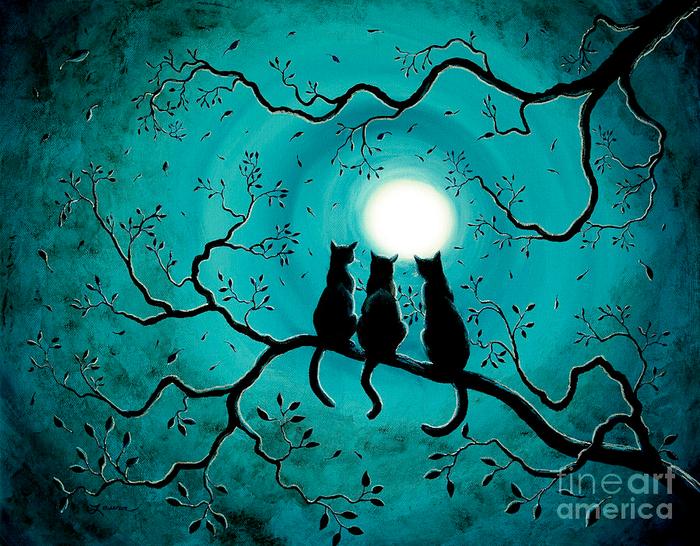 Кошка при луне рисовать