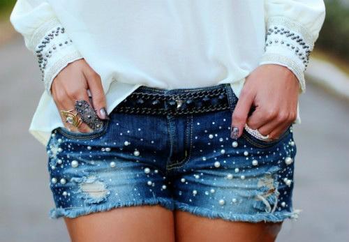 Декор джинсовых шорт своими руками 994