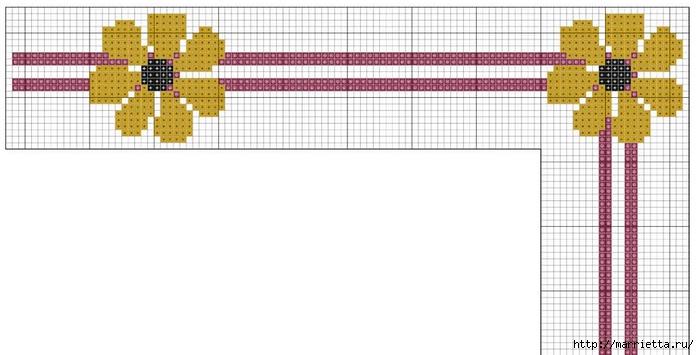 Стильная вышивка для скатерти. Схема (8) (700x355, 130Kb)