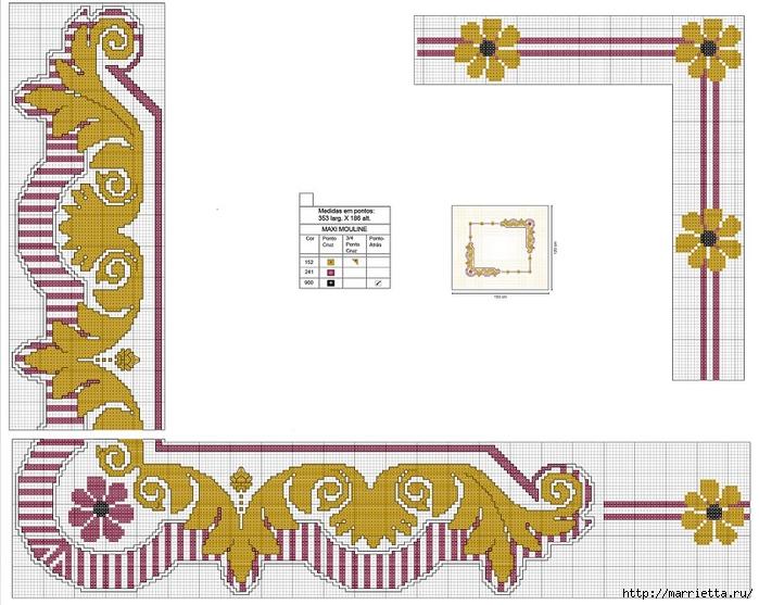 Стильная вышивка для скатерти. Схема (11) (700x557, 257Kb)
