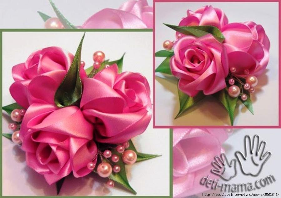 DIY Красивые цветы из лент