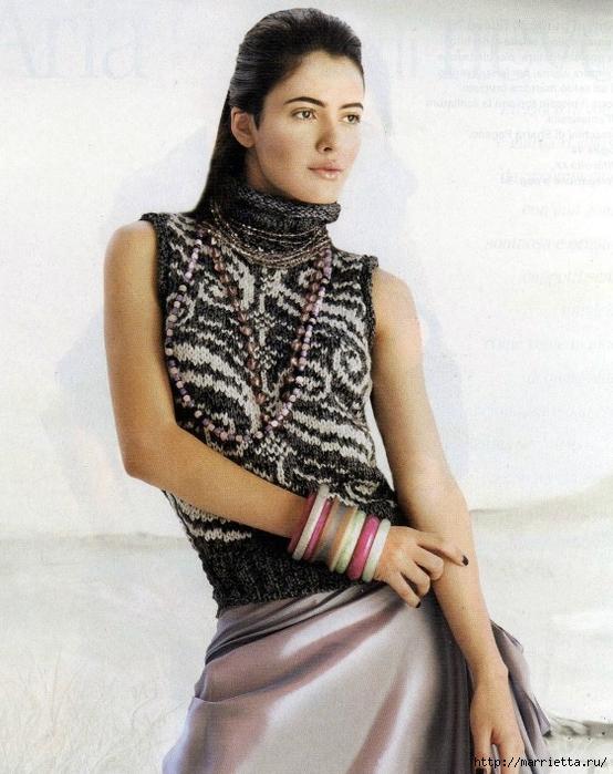 Пуловер и безрукавка красивым узором спицами (1) (554x700, 289Kb)