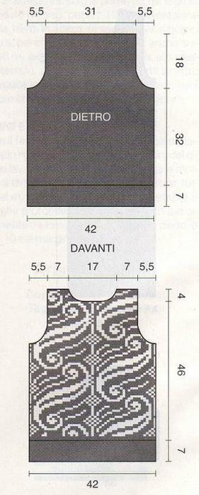 Пуловер и безрукавка красивым узором спицами (3) (281x700, 182Kb)