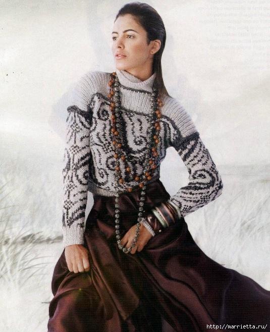 Пуловер и безрукавка красивым узором спицами (5) (535x657, 252Kb)
